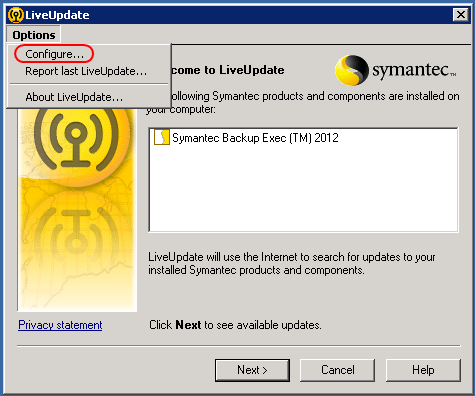 symantec live update greyed out